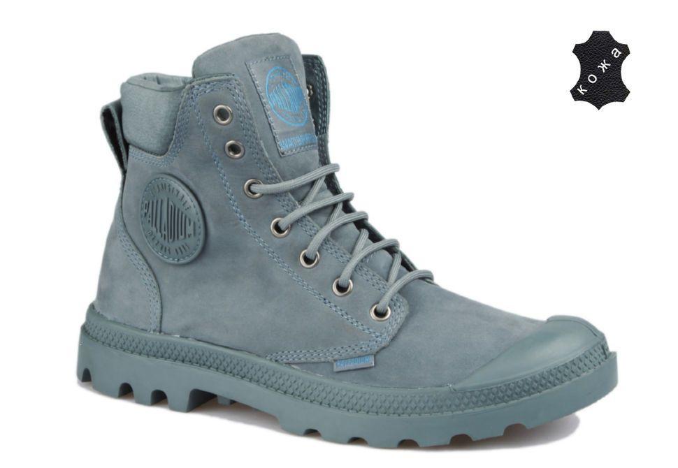 b99f9326 Кожаные женские ботинки Palladium Pampa Cuff WP Lux 73231-452W голубые